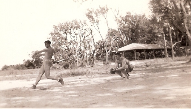 U. S. Marines playing ball, probably on Guam, 1944. From Boots Poffenberger's collection.